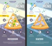 Flat style pizza menu design. Web site design Stock Photos