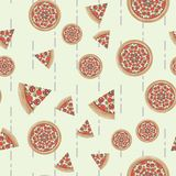 Flat style pizza vector seamless pattern, pizza texture. 10 eps stock illustration