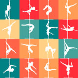 Flat style pole dance and pole fitness icons. Vector silhouettes of female pole dancers. Stock Photography