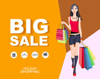 Flat style poster Big sale with icons. Shopping woman Royalty Free Stock Photos