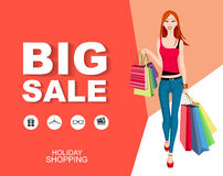 Flat style poster Big sale with icons. Shopping woman Royalty Free Stock Photography
