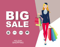 Flat style poster Big sale with icons. Shopping woman Stock Images