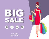 Flat style poster Big sale with icons. Shopping woman Stock Image