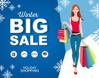 Flat style poster winter Big sale with icons. Shopping woman Royalty Free Stock Photos