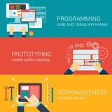 Flat style process programming prototyping infographic concept. Flat style process programming, prototyping, responsiveness infographic concept. Code writing Stock Photos