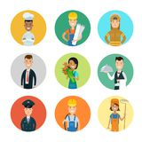 Flat professional people character  professi. Flat style professional people character profile avatar userpic  icon set. Professions policeman, florist Royalty Free Stock Photography