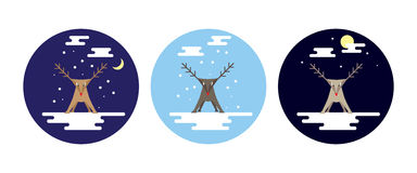 Flat style reindeer in snow scenes at different times of the day. And night. Three circular versions. EPS10 vector format Stock Photo