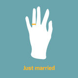 Flat style ring finger. Flat style image of hand with ring on ring finger. Just married concept Stock Photos