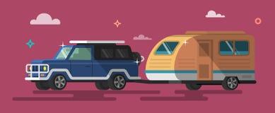 Flat style on road trip, trailering. stock illustration