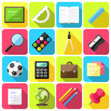 Flat style school icons Stock Photography