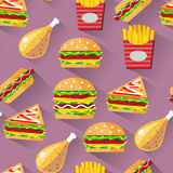 Flat style seamless pattern fast food background Stock Photo
