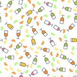 Flat style seamless pattern of wine glasses. Concept for fabric and paper, surface textures.Vector illustration royalty free stock photography