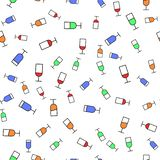 Flat style seamless pattern of wine glasses. Concept for fabric and paper, surface textures.Vector illustration royalty free stock image