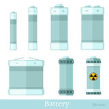 Flat style set of battery and accumulator Royalty Free Stock Photo