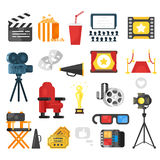 Flat style set of cinema icon. Vector flat style set of cinema icon. Isolated on white background Royalty Free Stock Photography