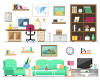 Flat style set of home furniture: bookcase, sofa, armchair, pictures, tv, lamp, computer, table, flowers, clock, shelves. Interior Stock Image