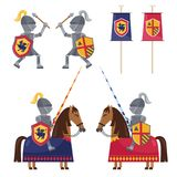 Set of medieval knights and banner. Flat style set of knights on horses and knights fighting in collection with colorful banners Royalty Free Stock Photography