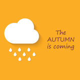 Flat style with shadow, cloud with rain drops icon illust. Ration. The autumn is coming royalty free illustration