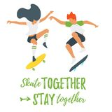 Flat style  skater silhouette. Vector flat style illustration of man and woman skater silhouette. Loving couple doing sport activity together. Minimalism design Royalty Free Stock Photos