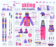 Flat style skiing, winter sport infographic, data presentation template design Stock Image
