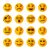 Flat Style Smile Emotion Icons Set. Vector Royalty Free Stock Photos