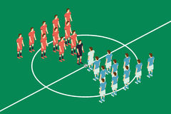 Flat Style Soccer Table. Vector Illustration. Isometric View Stock Photos