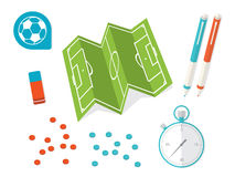 Flat Style Soccer Tactic Table. Vector Illustration Stock Image