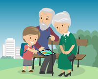 Flat style social media communications. Man woman senior couple grandparents make video call with tablet.. Grandson teaching elders to work with gadget. Vector Stock Images