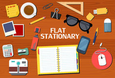 Flat Style Stationary Vector Set Stock Photography