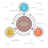 Flat style 3 steps circle infographic template. Thin line busine Royalty Free Stock Photography