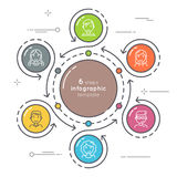 Flat style 36 steps circle infographic template. Thin line  Stock Image