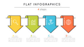 Flat style 4 steps timeline infographic template. Thin line busi. Ness presentation concept. Expanded stroke Stock Images