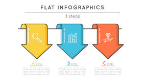 Flat style 3 steps timeline infographic template. Thin line busi. Ness presentation concept. Expanded stroke Royalty Free Stock Photos
