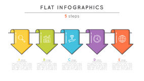 Flat style 5 steps timeline infographic template. Thin line busi. Ness presentation concept. Expanded stroke Stock Photos