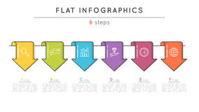 Flat style 6 steps timeline infographic template. Thin line busi. Ness presentation concept. Expanded stroke Royalty Free Stock Photography