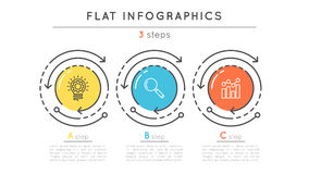 Flat style 3 steps timeline infographic template. Stock Images