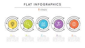 Flat style 5 steps timeline infographic template. Royalty Free Stock Photos