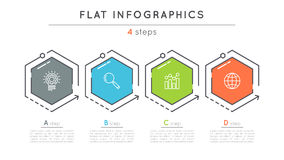 Flat style 4 steps timeline infographic template. Royalty Free Stock Image