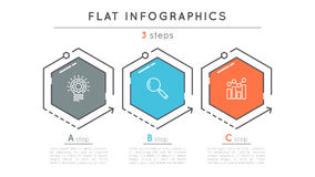 Flat style 3 steps timeline infographic template. Royalty Free Stock Photography