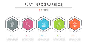 Flat style 5 steps timeline infographic template. Stock Photography