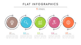 Flat style 5 steps timeline infographic template. Thin line business presentation concept. Expanded stroke Stock Photo