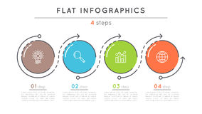 Flat style 4 steps timeline infographic template. Stock Photo