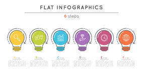 Flat style 6 steps timeline infographic template. Stock Photos