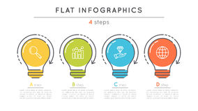 Flat style 4 steps timeline infographic template. Thin line business presentation concept. Expanded stroke Stock Images