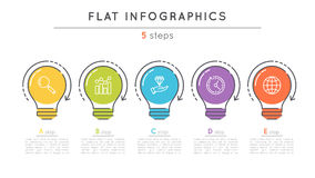Flat style 5 steps timeline infographic template. Thin line business presentation concept. Expanded stroke Stock Photography