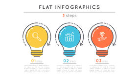 Flat style 3 steps timeline infographic template. Thin line business presentation concept. Expanded stroke Stock Photos