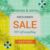 Flat style summer promotional sale banner Royalty Free Stock Images