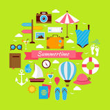 Flat Style Summertime Travel Concept Stock Photos