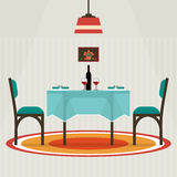 Flat Style Table For Two With Cloth, Wine Glasses, Bottle . Stock Images