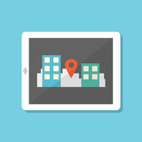 Flat style tablet with gps navigation in city Royalty Free Stock Image